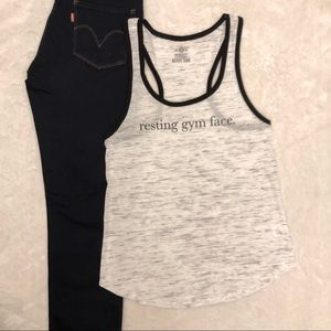 Resting Gym Face Thin Tank Top Size M
